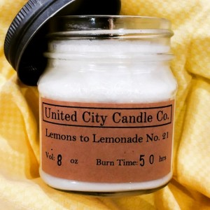 Lemons to Lemonade No. 21 -- Ice cubes and spring water with a homemade fresh squeeze. 100% soy candle. United City Candle Co. Made in USA