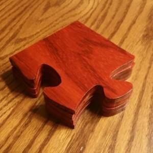 Wooden Coaster Set, Hand cut, Pedauk wood, clear coated