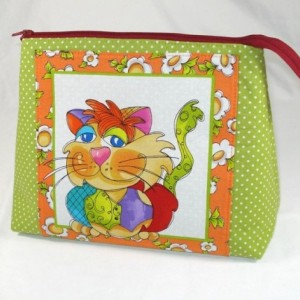 "Loralie Designs  Sage Green and Orange ""Happy Cat"" Cosmetic Bag, Bridesmaid Gift, Holiday Gift, Gift, Toiletry Bag, Pencil Case, Travel Bag"