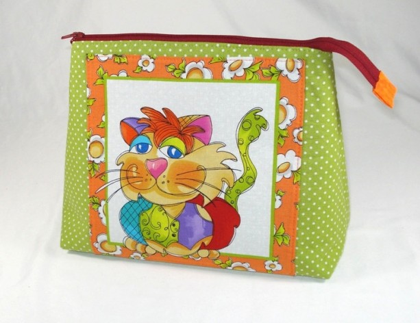 """Loralie Designs  Sage Green and Orange """"Happy Cat"""" Cosmetic Bag, Bridesmaid Gift, Holiday Gift, Gift, Toiletry Bag, Pencil Case, Travel Bag"""
