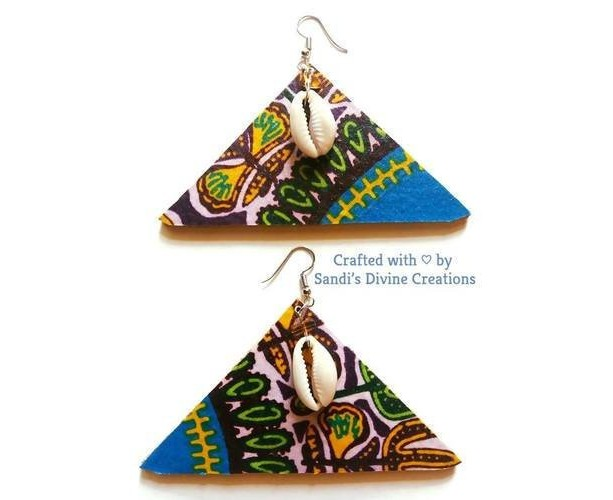 Ankara Prints, Cowrie Ankara Earrings, Cowrie Shell Earrings, Cowrie Earrings, Cowry Fabric Earrings, Ankara Earrings, Tribal Shell Earrings