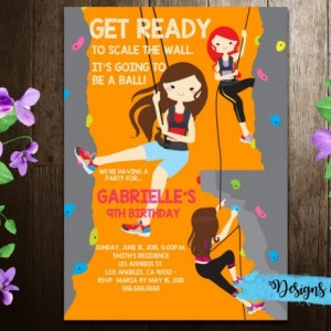 Girls/Boys Rock Climbing Birthday Printable Invitation, Kids Party Invitation (7x5 inches)