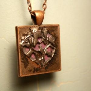 Purple love birds in copper pendant with necklace