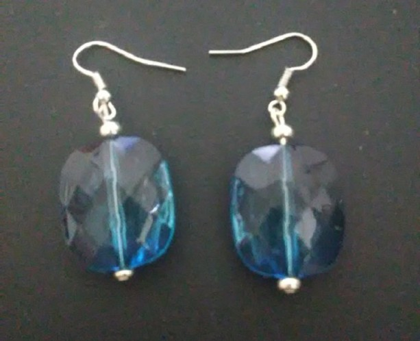 Blue Square Beaded Earrings
