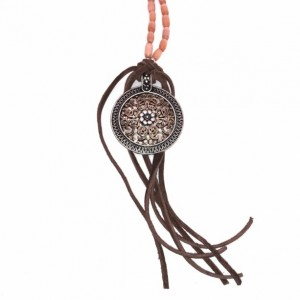 Boho Floral Pendant Necklace with Brown/Orange Cat Eye Beads and Leather