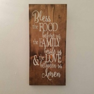 Bless the Food Before Us sign, Religious sign, Prayer, Kitchen Decor