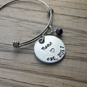 "Nana's Bracelet- Hand-stamped ""Nana est (year of choice)"" with a stamped heart with an accent bead in your choice of colors"
