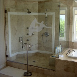 Surfer Design One - Coastal Design Series - Etched Decal - Shower Doors, Sliding Glass Doors & Windows - Available in different sizes