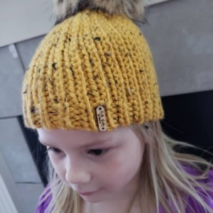 Ready to ship toddler chunky beanie oversized fur pom tweed