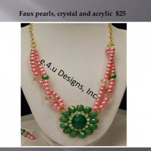 Pink and green faux pearls & acrylic pendant