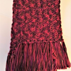Reds/Browns Scarf, Soft, Women/Men, Fringe