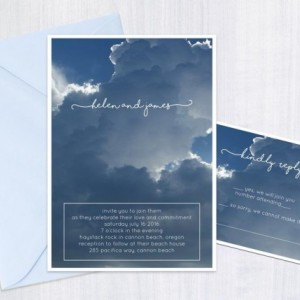 Custom Invitation - Blue Sky Clouds - Invitation and Reply Card - Digital File - DIY - Custom Design