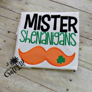 St. Patrick's Day Tshirt, Boys, Toddlers, Mustache, Shamrocks, Mr. Shenanigans, Leprachan, Personalized, Embroidered