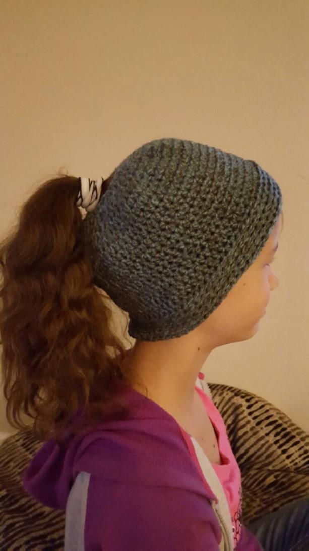 Crocheted Ponytail Hat