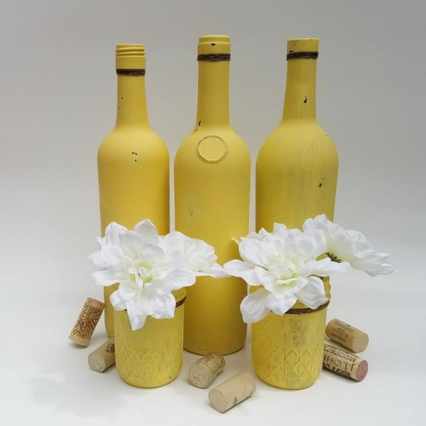 Upcycled Wine Bottle Vases Quilted Jars Set Of 5 Wedding Center