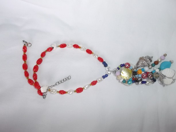Red white and Blue Memaid necklace