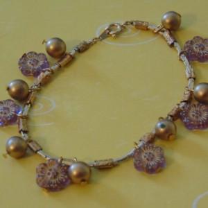 Golden Snake Chain Purple Flower Czech Beads Golden Round Bead Bracelet is adjustable