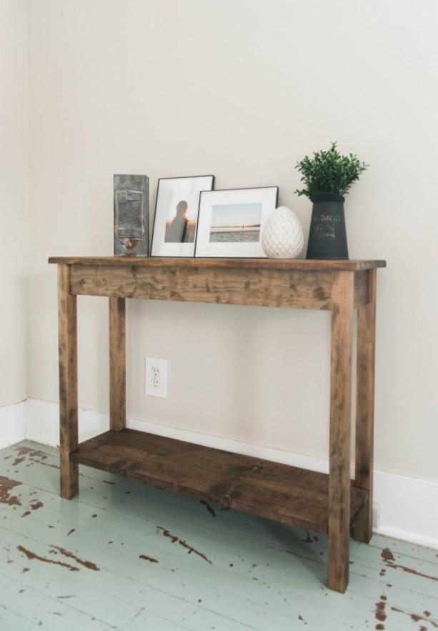 the georgia dark walnut pine wood sofa table with bottom shelf aftcra. Black Bedroom Furniture Sets. Home Design Ideas