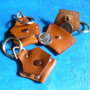 "Handmade ""Original"" Leather Quarter Key Chain, leather keychain, coin holder keychain, leather coin holder,"