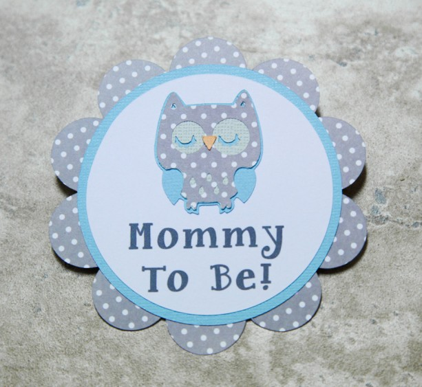 Owl Theme polka dot Name Tag Button Pin- (Quantity 4)