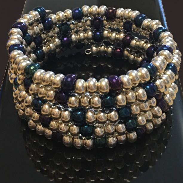 Silver and Rainbow Czech Glass Memory Wire Wrapped Bracelet