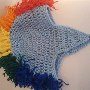 Crochet Mohawk Beanie Cap in Rainbow Colors Blue for Men, Women, and Children's Fashion