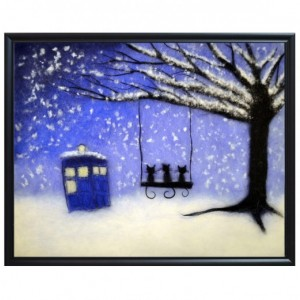 "Wool Painting ""Cats and Tardis"""