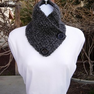 Women's Lightweight NECK WARMER Scarf, Buttoned Cowl, Black and Dark Gray, Soft Acrylic Crochet Knit Winter, with Two Large Black Resin Buttons, Ships in 3 Biz Days