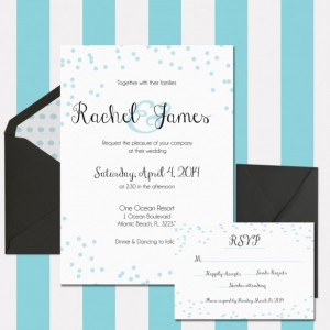 Wedding Invitation Printable, Light Blue and White, Whimsical and Fun, Polka Dots, Confetti Invitation, Customizable, Digital Invitation