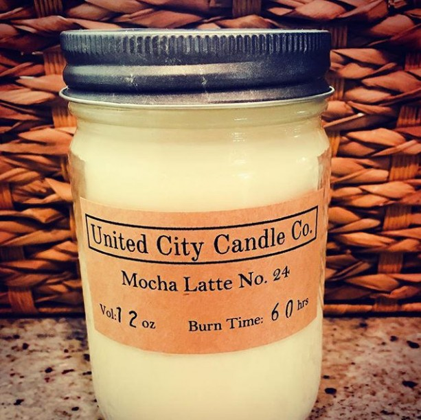 Mocha Latte No. 24 -warm cozy coffeehouse atmosphere of rich and creamy fresh ground beans.100% soy candle.United City Candle Co.Made in USA