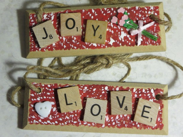 Set of 2 Scrabble® Game Tile Wooden Plaques Joy & Love