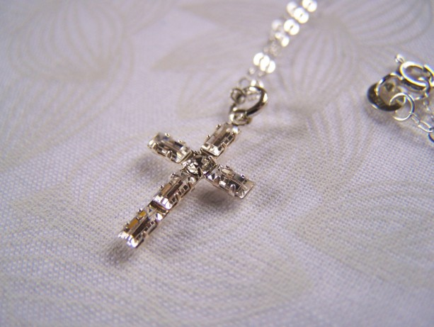Cross Pendant Swarovski Baguette Crystal Confirmation Communion