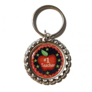Number One Teacher  Bottle Cap Keychain, Teacher, Teacher Gift, School, Back to School