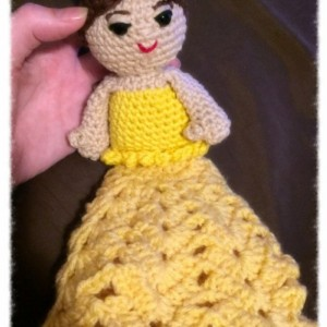 Security blanket dolls, golden dress doll with bun hair