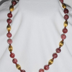 Pink Hemimorphite, Sangria Garnets, Pink Crystals, Gold Plated Ovals Bead,