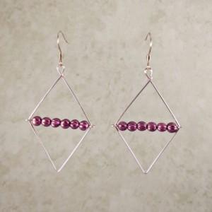 The Clarissa | handmade rhombus cutout earrings, blue gray glass, pink beads, diamond shape, AB melon beads, Czech glass, Gifts for Her