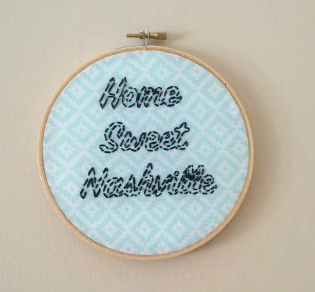 Home Sweet Nashville Embroidery Hoop Art Wall Hanging