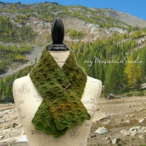 Ladies Handmade Neckwarmer Scarf in Green and Brown - Rainforest