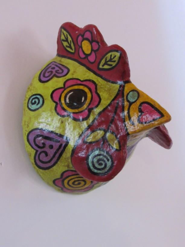 paper mache chicken head paper mache hen Mexican art faux taxidermy colorful chicken hen sculpture Southwestern art