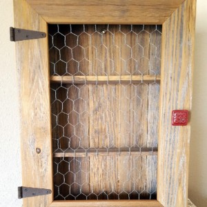 Country Cabinet. Rustic Spice Cabinet with Chicken Wire. Country Kitchen Cabinet, Red Decor
