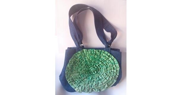 Denim Shoulder Bag with fabric flower