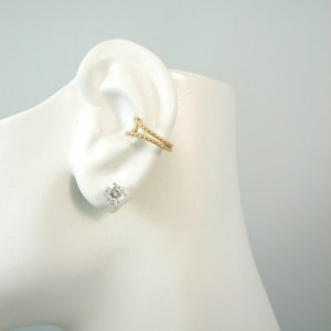 POST Conch Pierced Cartilage Earring 14K Gold Filled Body Piercing Double Beaded EDBGFPOST