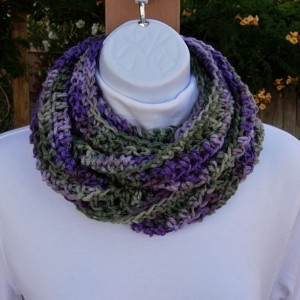 SUMMER SCARF Infinity Loop Cowl Purple Lilac Sage Green MultiColor Soft Lightweight Crochet Eternity Circle..Ready to Ship in 3 Days
