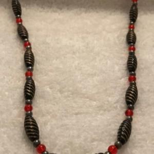 "Steampunk Royalty handmade beaded necklace 19"" long"