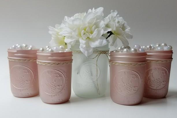champagne pink frosted mason jars set of 5 baby girl shower bridal shower decor