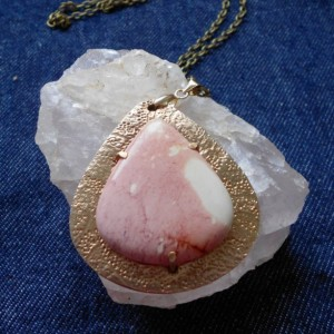 Handcrafted Mookaite and Bronze Metal Clay Pendant