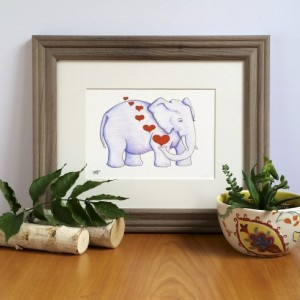 Dreaming Elephant, Fine Art Print, Elephant with Hearts, Nursery Decor, Jungle Art, Jungle Animal, African Elephant, Sleeping Elephant