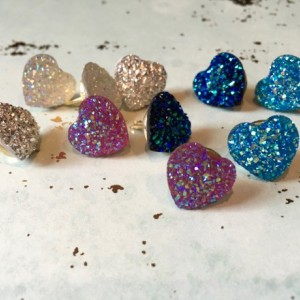 Glittery Crystal Heart Pushpins (Set of 10), Thumbtacks, Cork Board, Locker decoration, Wall Hanger, Photo Hanger,