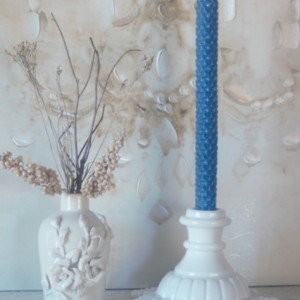 French Blue Rolled Honeycomb Beeswax Candles