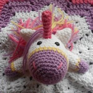 Pretty Pastel Crocheted Unicorn Baby Lovey